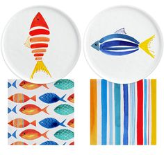 Margaret Berg Art: Blue+Yellow+Red+Fish+Dinnerware