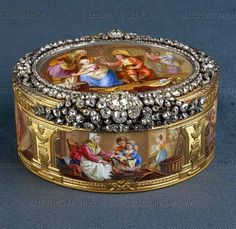 Boucher,Francois.Mathieu III Coiny   Snuffbox: Genre scenes after Francois Boucher   1762-1763; Paris   Gold, diamonds, enamel
