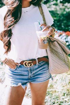 Emily Gemma, Fashion Blogger #EmilyGemma #whitetee White t-shirt, denim shorts, cotton tee #Gucci #chanel