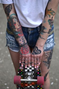 :: Tattoo&Girls :: Arm and had tattoos. Traditional and modern #tattoo #girls #art