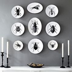 Bug Decal Decorative Dishware Give thrifted plates and platters a new look for Halloween with chic printed bug decals. Arrange the monochrome dishware above your mantel with black candlesticks and fall potpourri. Fall Mantel Decorations, Diy Halloween Decorations, Halloween Themes, Fall Decor, Outdoor Decorations, Easy Halloween Crafts, Holidays Halloween, Halloween Fun, Halloween Ideias