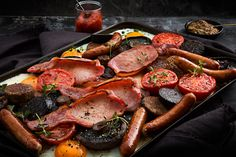 Flavoursome tray of everyone's breakfast favourites Wine Offers, Roasting Tins, Pot Roast, Wine Recipes, Sausage, Stuffed Mushrooms, Pork, Fresh, Cooking