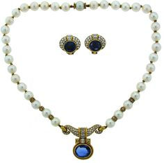 1980s Bulgari Pearl Sapphire Diamond Gold Necklace and Earrings Set | From a unique collection of vintage more necklaces at https://www.1stdibs.com/jewelry/necklaces/more-necklaces/