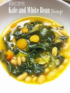 Kale and White Bean Soup #vegetarian #recipe