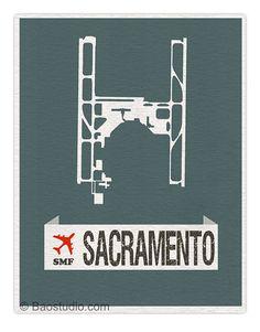 Fly me to Sacramento SMF - Sacramento California International Airport Runway Map World Traveler Series Airport Code Art Print Poster