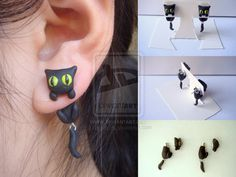 Black Cat Clinging Earrings by KittyAzura.deviantart.com on @deviantART