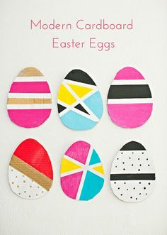 Kid Made Modern Cardboard Easter Eggs. A fun way to teach kids about colors and patterns!