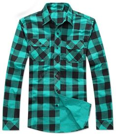 Casual Style Lapel and Pocket Design Checked Pattern Loose Fitting Shirt For Men - Click on image to visit www.pooz.com