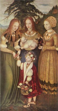Lucas Cranach - Saints Dorothea, Agnes and Kunigunde, 1506
