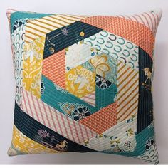 """I love making pillows with my fabric scraps! This QAYG pattern is perfect for 2.5"""" strips! @thesewingloft #scraphappens #missingmarket"""
