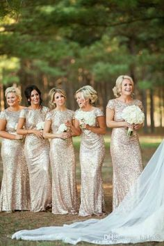 2016 Newest Bridesmaid Dresses Gold Sequins Bling Cap Sleeve Scoop Neckline Fit…