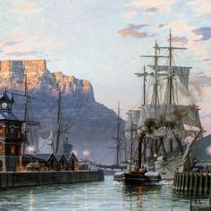 """John Stobart - Cape Town: The Bark """"William Hales"""" Towing Out of Port Making Water, Limited Edition Prints, Cape Town, Sailing Ships, Vintage Photos, Landscapes, Paintings, Places, Artist"""