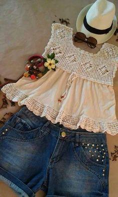 Crochet Fabric, Crochet Blouse, Diy Crochet, Diy Blouse, Crochet Ideas, Crochet Girls, Crochet Baby Clothes, Best Dress For Girl, Nice Dresses