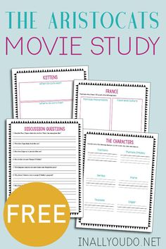 This movie study for The Aristocats is a fun way to add some additional learning to your movie day! This printable pack includes 4 pages of activities! Homeschool Kindergarten, Homeschool Curriculum, Homeschooling Resources, Aristocats Movie, School Room Organization, Critical Thinking Skills, Kids Writing, France, Activities