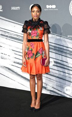 Tulle Takeover from Fashion Police  It appears even the flawless Naomie Harris isn't immune to a fashion crime, which she commits in this Gucci mini at the 2016 British Independent Film Awards. The neckline and sleeves on the dress are seriously concerning. It would have been lovely without the extra tulle fabric, so the only question is: Why?