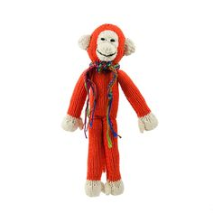 Kenana Stofftiere Affe in rot - Kenana Stofftiere - Handmade - circa 35 cm aus Baumwolle