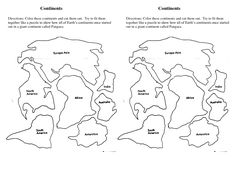 Cut Out Continents Coloring Page  At