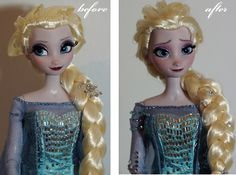 Limited Edition Snow Queen Elsa OOAK doll, before limited to 5000 worldwide, now limited to one. She has a full face repaint, her lashes are trimmed, her hair is restyled.