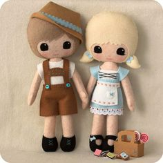 This adorable pattern was inspired by one of my favourite fairy tales - Hansel and Gretel. You get to create both dolls, their outfits and all the