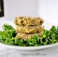 Baked Falafel Inspired Veggie Burgers.  Great on a bun or by themselves.  A healthier twist on the traditional recipe.  Vegan and gluten free
