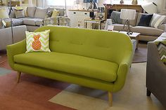 Kermit 3 Seater Sofa Green Fabric Retro Style Prototype