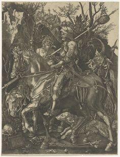 Anonymous | Ridder, Dood en Duivel, Anonymous, 1513 | Een ridder te paard, rijdend over een rotsachtig pad met zijn hond naast zich, ontmoet op zijn weg de Dood, eveneens te paard, en de duivel. Op de achtergrond een stad.