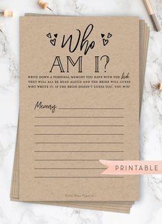 Who am I Bridal Shower game. Favorite memories of the bride. - Who am I Bridal Shower game. Favorite memories of the bride. Printable instant do -
