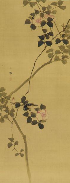 Wild rose and a bird  1615-1868  Mori Ippo 1798-1871)   Edo period   Color on silk