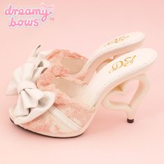 Buy Dream V Bow & Lace Heart Heel Mules - White at Dreamy Bows