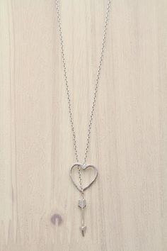 Silver Brass Lariat Necklace With Heart And Arrow #fashionjewelry #necklace