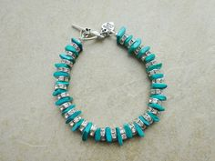 Turquoise Shell and Crystal Bracelet by MadeInTheFalls on Etsy