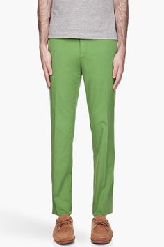 CARVEN Pea Green Light Chinos for men | SSENSE