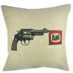 Square Home Décor Pillows Gun Decor, Throw Pillow Cases, Throw Pillows, Revolver, Cushion Covers, Bangs, Decorative Pillows, Cushions, Theme Ideas