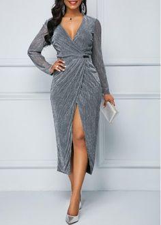 Silver Front Slit V Nek Long Sleeve Sparkle Dress Fall Dresses, Sexy Dresses, Dresses For Sale, Dresses Online, Nice Dresses, Casual Dresses, Fashion Dresses, Ankara Fashion, Women's Fashion