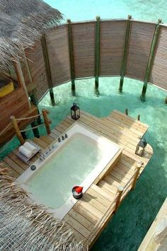 """Want to go: The Maldives seem to have the coolest hotel/villa features. """"Outdoor Private Bath - Soneva Gili By Six Senses - North Male Atoll, Maldives"""" Oh The Places You'll Go, Places To Travel, Places To Visit, Vacation Destinations, Dream Vacations, Dream Vacation Spots, Vacation Places, Gili Lankanfushi, Outdoor Baths"""