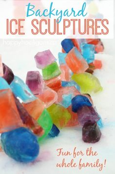 Coloured Ice Sculptures - great backyard activity for the whole family or group activity at a winter carnival. All ages can get in on this. The grown ups love it just as much as the kids do! - happy hooligans