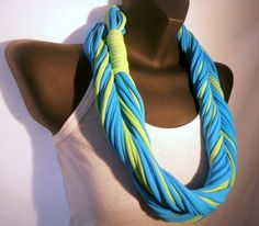 Infinity Scarf  Beach Blue and Lime Green Color by sister9designs, $15.00