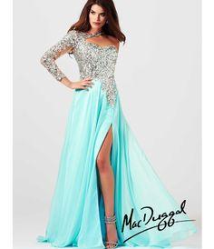 Mac Duggal 2014 Prom Dresses - Aqua Sequin Embellished Long Sleeve Prom Dress (37718-85307M) van MacDuggal - Please allo...Price - $538.00-gR82fzEv