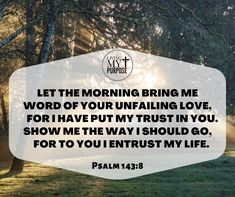 Psalm 143:8 Psalm 143 8, Psalms, Ecclesiastes 12, Share My Life, Show Me The Way, Trust Me, My Passion, Continue Reading, Bible Verses