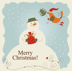 87 Free Printable Christmas Cards to Send This Holiday Season: Vintage Snowman and Birdy by Homemade Gifts Made Easy