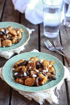 Crispy Brown Butter Sweet Potato Gnocchi with Balsamic Caramelized Mushrooms + Goat Cheese