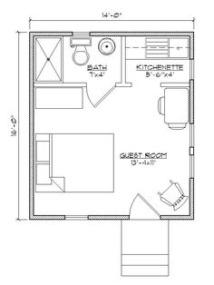 Small house plan for outside guest house.