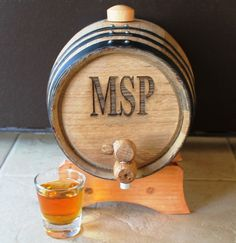 Original for a barn wedding. Personalized 2 Liter Mini-Oak Whiskey Barrel - Groomsmen Gift - Father's Day Gift - Personalized Gift