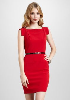 SINGLE Square Neck Dress with Belt. Perfect dress for the office.