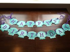 Made to order This banner was handmade with quality cardstock. The letters were cut from glittered cardstock and mounted with foam. Tied
