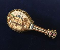 Vintage-2-Italian-Micro-Mosaic-Architectural-Mandolin-Pin-Brooch-St-Peters