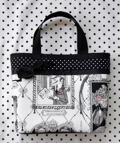 Ghastlie Gallery & Polka Dots Purse with Black Rose and Feathers - $15.40 from Sabbie's Purses and More