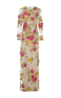 Multicolor Rose Embroidered Long Sleeve Evening Dress by Blumarine for Preorder on Moda Operandi