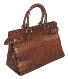 The Allegra Handbag (No. 3475). An Italian classic made by hand. Rich cognac color in finest 100% ostrich embossed leather. Two interior fabric pockets, one large zip pocket, and a silver ring for keys, which eliminates the frantic search for them. On the outside, self-fabric tabs and silver leather detail around the zipper pocket. Top zipper closure. I want this soooo bad!!
