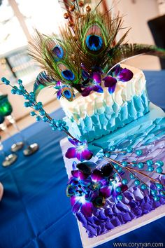 Purple and blue peacock cake by Michelle's Patisserie